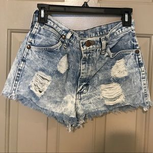 Wrangler distressed denim shorts